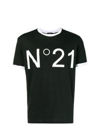 Camiseta con cuello circular estampada en negro y blanco de N°21