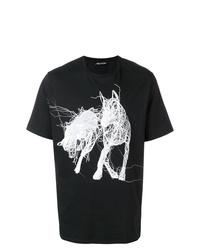 Camiseta con cuello circular estampada en negro y blanco de Neil Barrett
