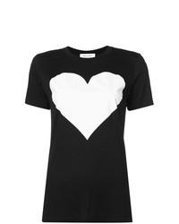 Camiseta con cuello circular estampada en negro y blanco de Prabal Gurung