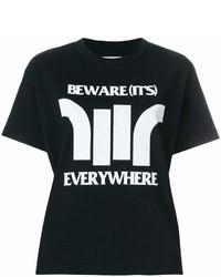 Camiseta con cuello circular estampada en negro y blanco de Sacai
