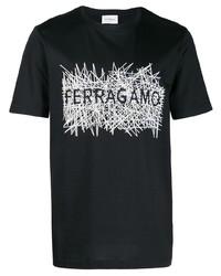 Camiseta con cuello circular estampada en negro y blanco de Salvatore Ferragamo
