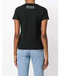 Camiseta con cuello circular estampada en negro y blanco de Societe Anonyme