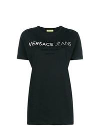 Camiseta con cuello circular estampada en negro y blanco de Versace Jeans