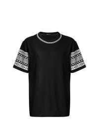 Camiseta con cuello circular estampada en negro y blanco de Versace