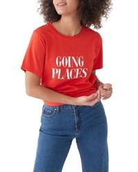 Camiseta con cuello circular estampada en rojo y blanco