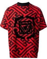 Camiseta con cuello circular estampada en rojo y negro