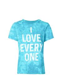 Camiseta con cuello circular estampada en turquesa de Cinq à Sept