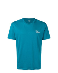 Camiseta con cuello circular estampada en turquesa de Ea7 Emporio Armani