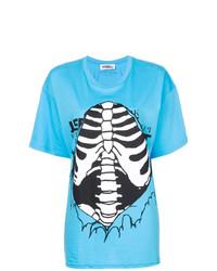Camiseta con cuello circular estampada en turquesa de Jeremy Scott
