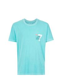 Camiseta con cuello circular estampada en turquesa de OSKLEN