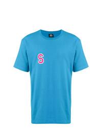 Camiseta con cuello circular estampada en turquesa de Stussy