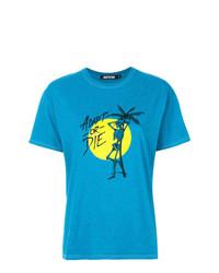 Camiseta con cuello circular estampada en verde azulado de Adaptation