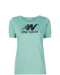Camiseta con cuello circular estampada en verde menta de Aalto