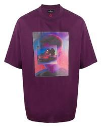 Camiseta con cuello circular estampada en violeta de Marcelo Burlon County of Milan