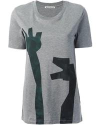 Camiseta con cuello circular estampada gris de Acne Studios