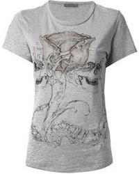Camiseta con cuello circular estampada gris de Alexander McQueen