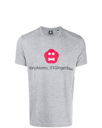 Camiseta con cuello circular estampada gris de Aspesi