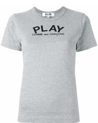 Camiseta con cuello circular estampada gris de Comme des Garcons