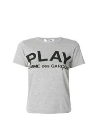 Camiseta con cuello circular estampada gris de Comme Des Garcons Play