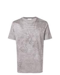 Camiseta con cuello circular estampada gris de Etro