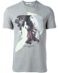 Camiseta con cuello circular estampada gris de Givenchy