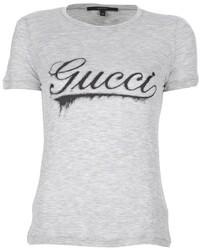 Camiseta con cuello circular estampada gris de Gucci