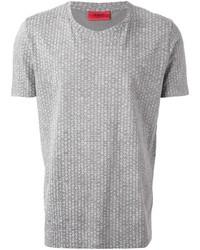 Camiseta con cuello circular estampada gris de Hugo Boss