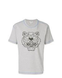 Camiseta con cuello circular estampada gris de Kenzo