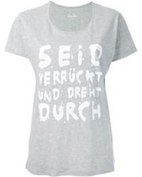Camiseta con cuello circular estampada gris de Lala Berlin