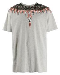 Camiseta con cuello circular estampada gris de Marcelo Burlon County of Milan