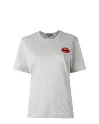 Camiseta con cuello circular estampada gris de Markus Lupfer