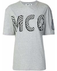Camiseta con cuello circular estampada gris de MCQ