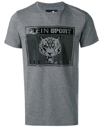 Camiseta con cuello circular estampada gris de Plein Sport