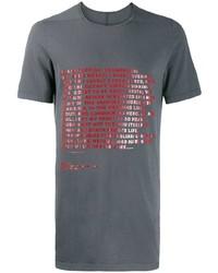 Camiseta con cuello circular estampada gris de Rick Owens DRKSHDW