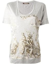 Camiseta con cuello circular estampada gris de Roberto Cavalli