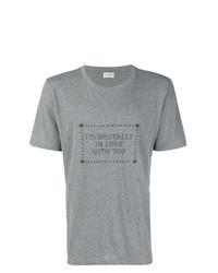 Camiseta con cuello circular estampada gris de Saint Laurent