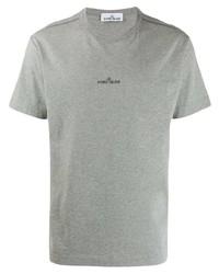 Camiseta con cuello circular estampada gris de Stone Island