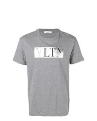 Camiseta con cuello circular estampada gris de Valentino