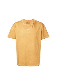Camiseta con cuello circular estampada marrón claro de A-Cold-Wall*