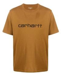 Camiseta con cuello circular estampada marrón claro de Carhartt WIP