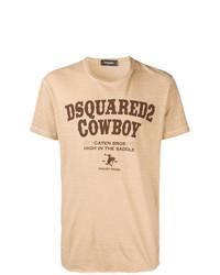 Camiseta con cuello circular estampada marrón claro de DSQUARED2