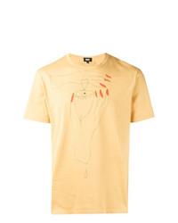 Camiseta con cuello circular estampada marrón claro de Dust