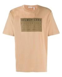 Camiseta con cuello circular estampada marrón claro de Helmut Lang