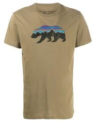 Camiseta con cuello circular estampada marrón claro de Patagonia