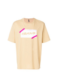 Camiseta con cuello circular estampada marrón claro de Versus