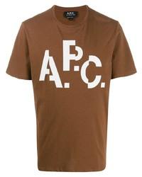 Camiseta con cuello circular estampada marrón de A.P.C.
