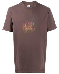 Camiseta con cuello circular estampada marrón de CP Company