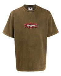 Camiseta con cuello circular estampada marrón de Daily Paper