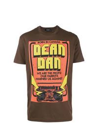 Camiseta con cuello circular estampada marrón de DSQUARED2