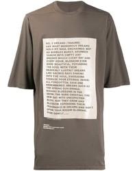 Camiseta con cuello circular estampada marrón de Rick Owens DRKSHDW